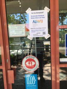 AUWU leaflet on door of Echo Australia offices