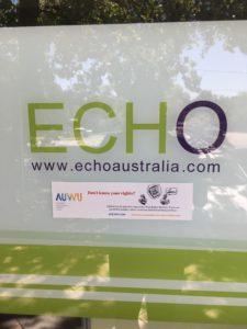AUWU leaflet on window of Echo Australia offices