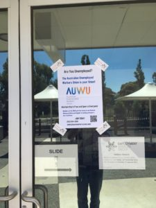 AUWU leaflet on window of Employment Services Group offices
